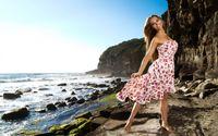 Girl on rocky beach wallpaper 2560x1600 jpg
