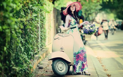 Girl on Vespa wallpaper