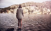 Girl standing on the rock in the river wallpaper 1920x1200 jpg