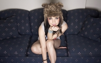 Girl with a funny furry hat wallpaper 2560x1600 jpg