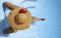 Girl with a hat sitting in the pool wallpaper 1920x1200 jpg