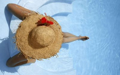 Girl with a hat sitting in the pool wallpaper