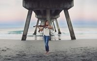 Girl with a violin on the beach wallpaper 2560x1440 jpg