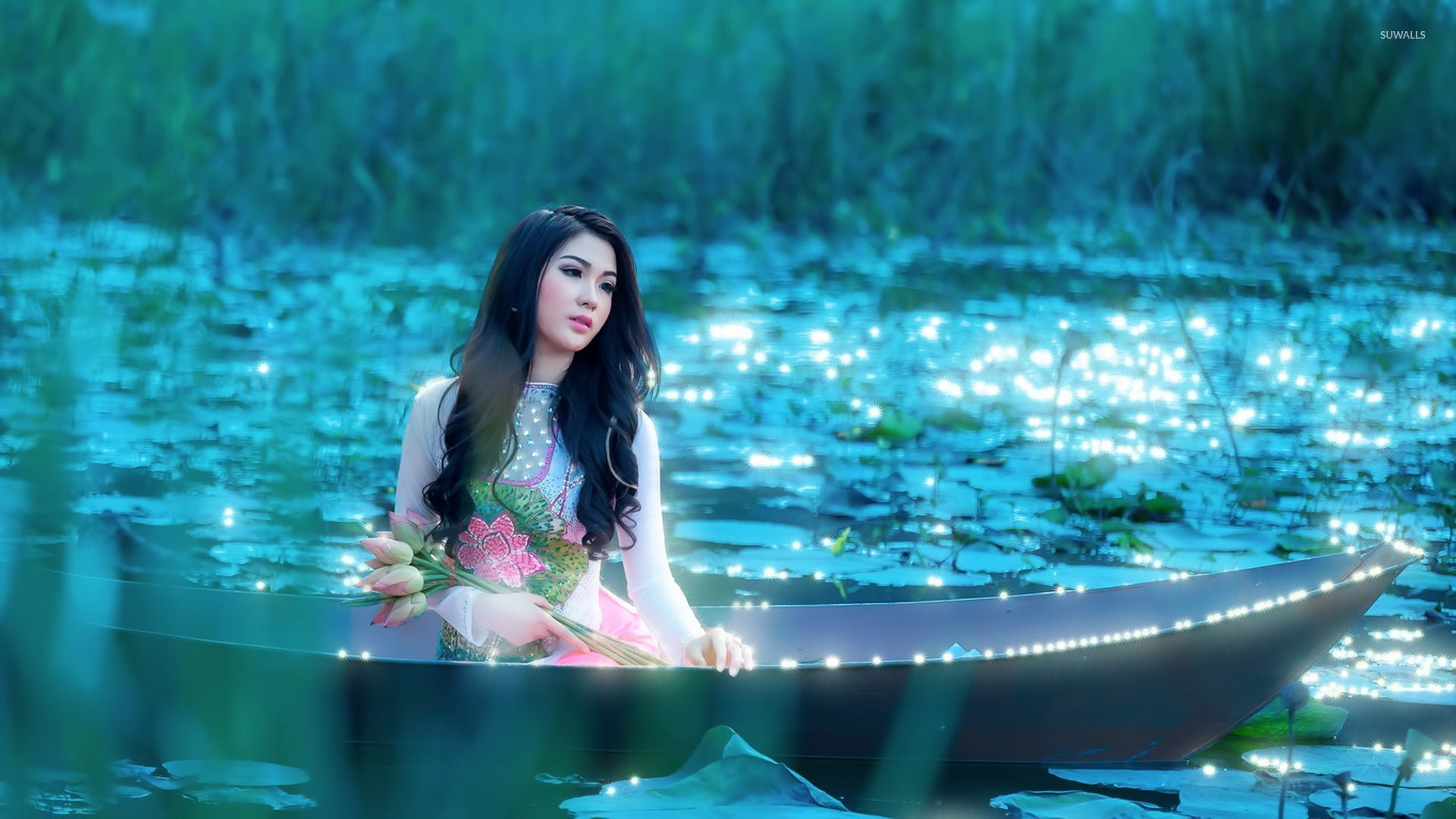 girl with flowers sitting in the boat wallpaper - girl wallpapers
