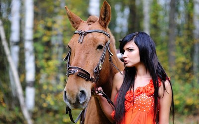Girl with her horse in the forest wallpaper