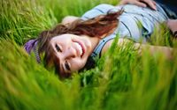 Happy girl in the grass wallpaper 2560x1600 jpg