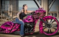 Jody Perewitz on a pink custom made motorcycle wallpaper 2880x1800 jpg