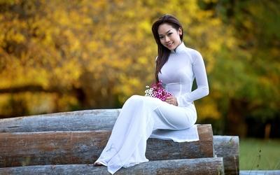 Oriental bride on tree logs Wallpaper