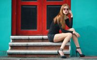 Redhead in shorts on the stairs wallpaper 1920x1200 jpg