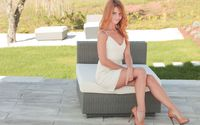 Redhead model sitting in the chair wallpaper 2560x1600 jpg