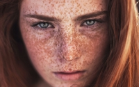 Redhead with freckles and blue eyes wallpaper 2880x1800 jpg