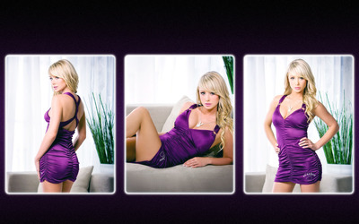 Sara Jean Underwood in purple dress wallpaper
