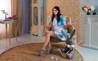 Brunette in a blue maid costume wallpaper 1920x1200 jpg