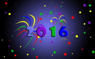 2016 in the colorful fireworks wallpaper