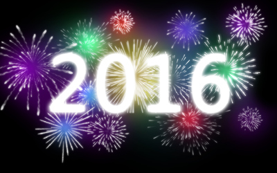 2016  on colorful fireworks wallpaper