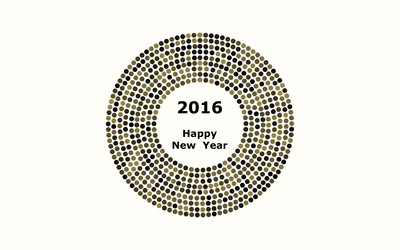 2016 on golden sparly circles wallpaper