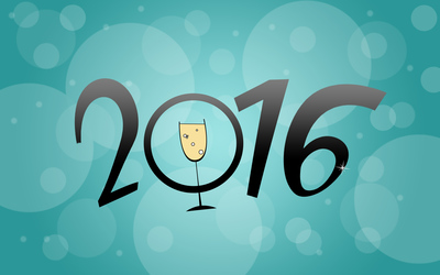 2016 with a champagne glass wallpaper