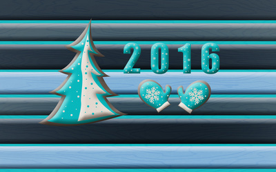 2016 with a Christmas tree and mittens wallpaper