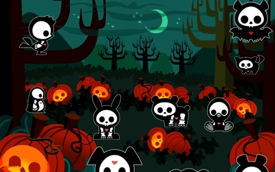 Animals in Halloween costumes in the forest wallpaper