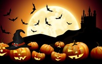 Bats flying over the jack-o'-lanterns wallpaper 3840x2160 jpg