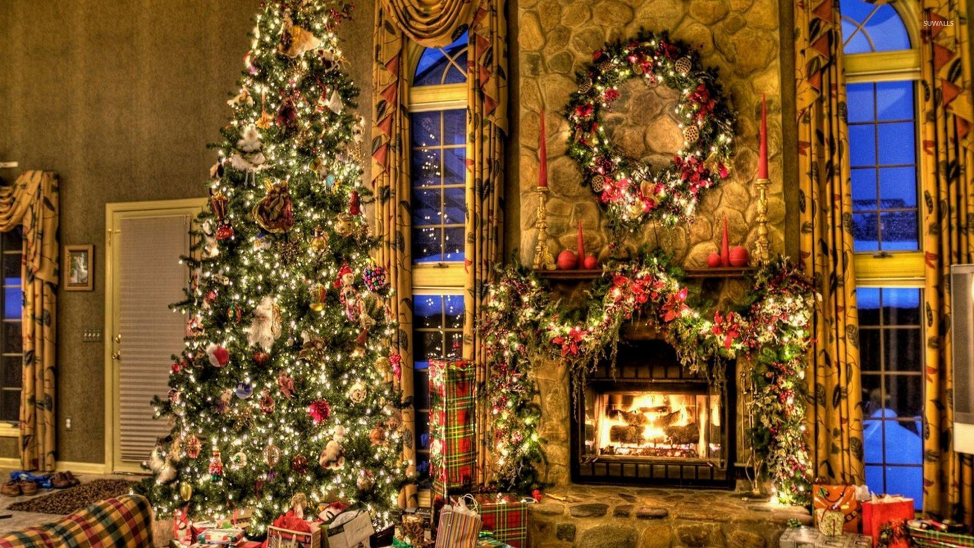Beautiful Christmas tree by the fireplace wallpaper ...