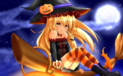 Blonde witch on a broom wallpaper