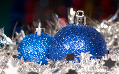 Blue and silver Christmas decoration wallpaper