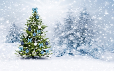 Blue and white baubles in the snowy forest wallpaper