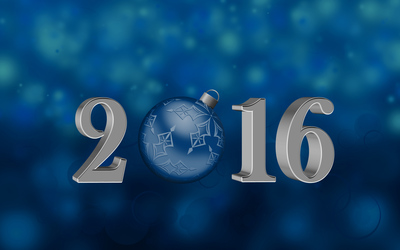 Blue bauble in 2016 wallpaper