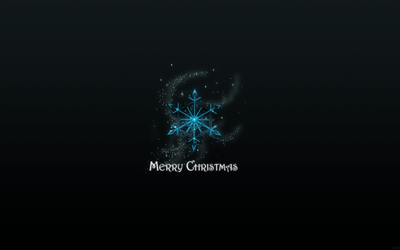 Blue snowflake above the Merry Christmas sign wallpaper