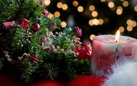 Candle burning near the Christmas tree wallpaper 1920x1080 jpg