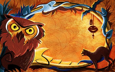 Cat and owl around the spider web Wallpaper