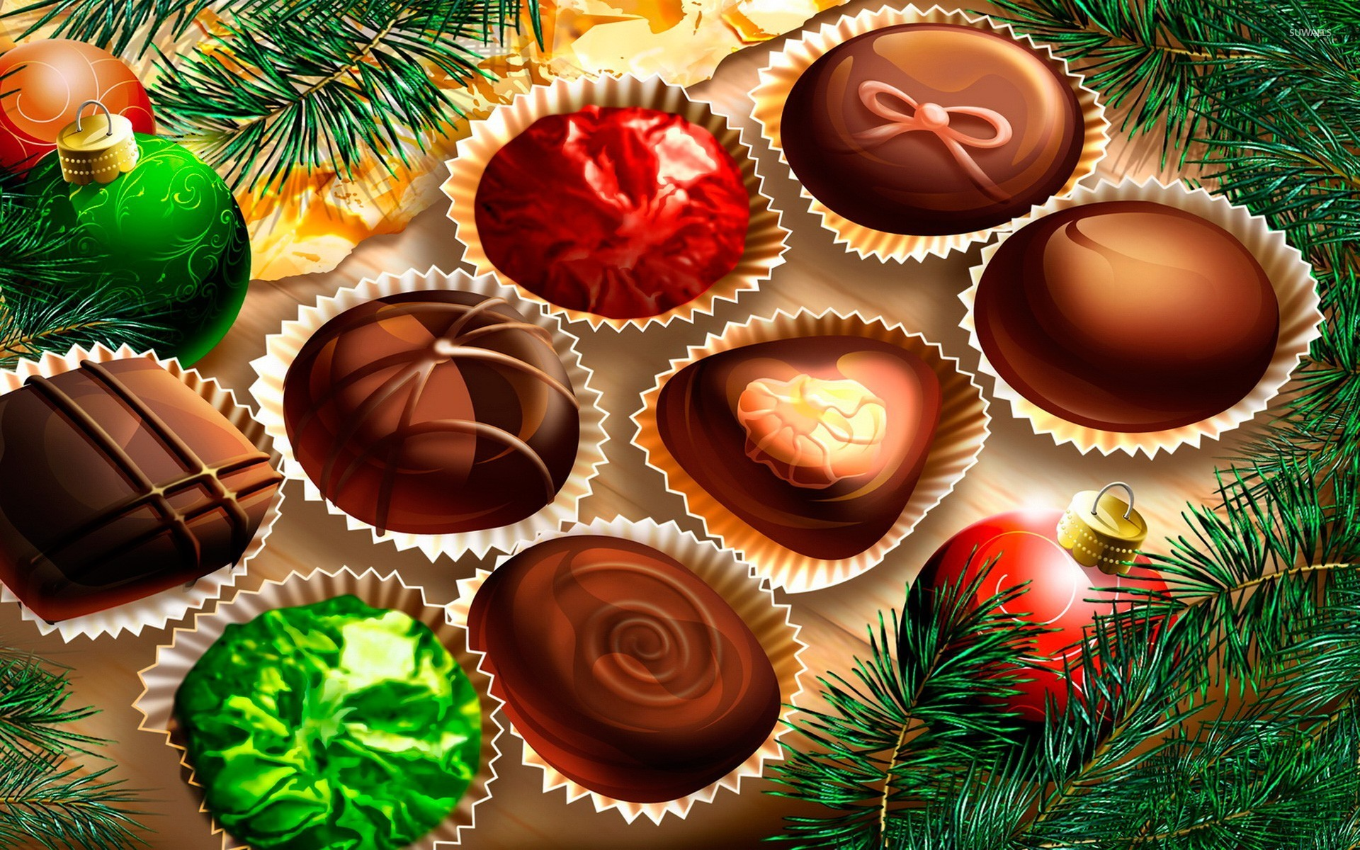 Chocolate bon bons wallpaper - Holiday wallpapers - #25212