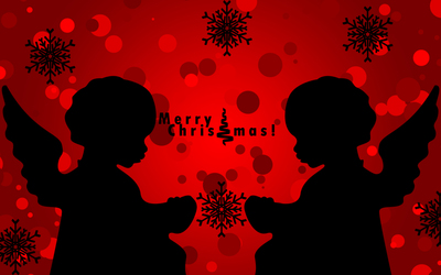 Christmas angel silhouettes wallpaper