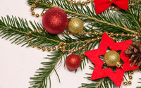 Christmas ornaments on a fir branch wallpaper 3840x2160 jpg