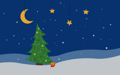 Christmas tree in the night wallpaper