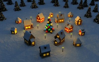Christmas tree in the town square wallpaper