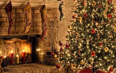 Christmas tree on Christmas Eve wallpaper
