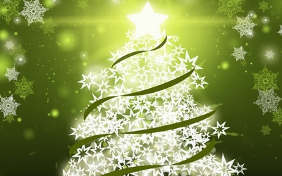 Christmas tree with green ribbons wallpaper