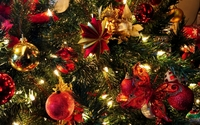 Christmas tree with red and golden baubles wallpaper 1920x1080 jpg