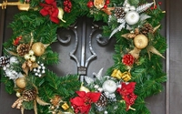 Christmas wreath on the gray door wallpaper 1920x1080 jpg