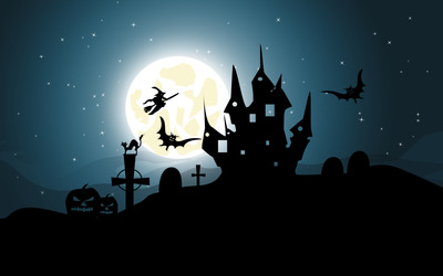 Clear Halloween night wallpaper