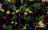 Colorful baubles in the Christmas tree wallpaper 1920x1200 jpg