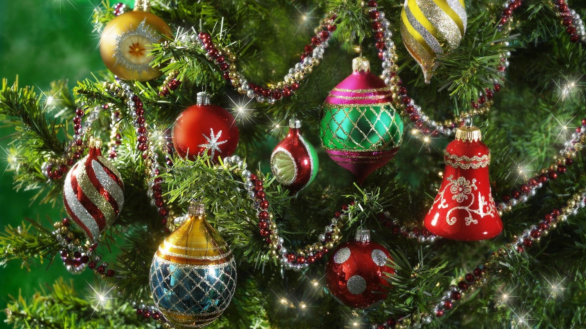 Colorful baubles in the sparkly Christmas tree wallpaper - Holiday ...