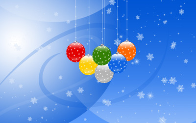 Colorful Christmas globes wallpaper