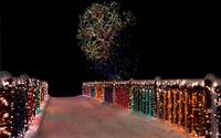 Colorful Christmas lights on the snowy bridge wallpaper 1920x1200 jpg