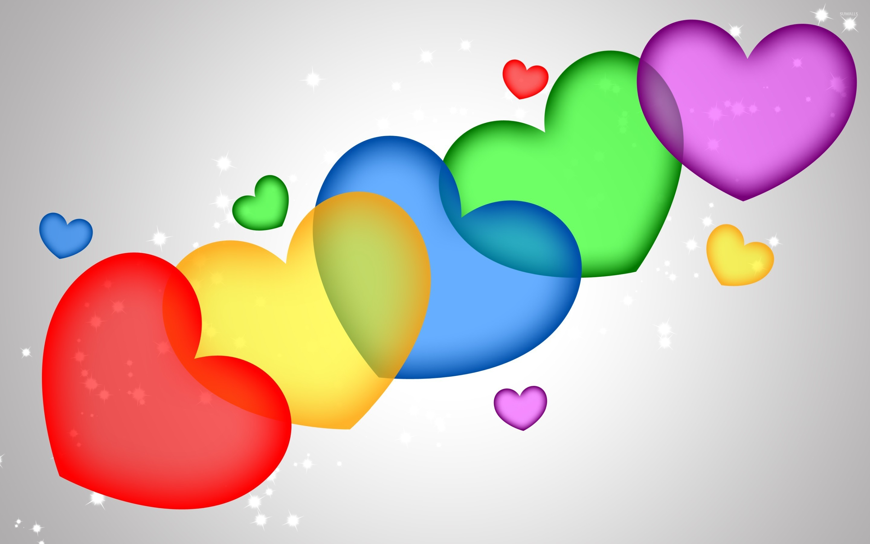 Colorful Hearts Wallpaper