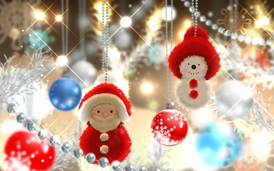 Cute Santa and snowman in the Christmas tree wallpaper