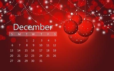 December 2015 red calendar wallpaper