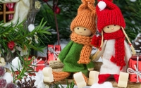Dolls under the Christmas tree wallpaper 1920x1080 jpg